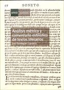 Portada Análisis métrico y comentario estilístico de textos literarios