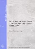 Portada Introducción general a la edición del texto literario. (D)