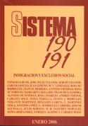 Portada Inmigración y exclusión social. Revista Sistema nº 190 191.